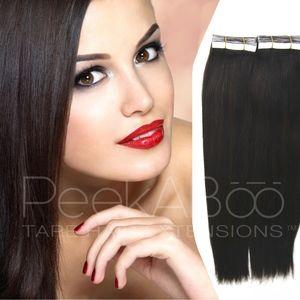 "100% REMY Tape In Hair Extensions 20"" Dark Brown"